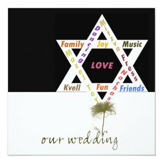 Flower of Life Jewish Wedding 13 Cm X 13 Cm Square Invitation Card