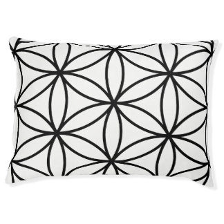 Flower of Life Large Pattern – Black on White Pet Bed