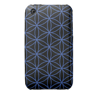 Flower of Life Large Pattern – Blue on Black Case-Mate iPhone 3 Cases