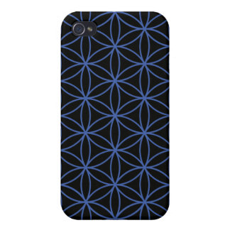 Flower of Life Large Pattern – Blue on Black Cases For iPhone 4