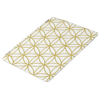 Flower of Life Large Pattern – Gold on White iPad Cover