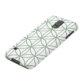 Flower of Life Large Pattern Green on White Galaxy S5 Cases