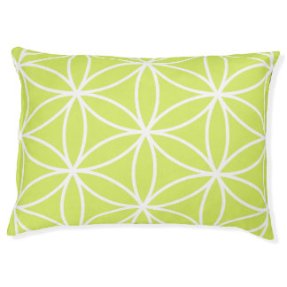 Flower of Life Large Pattern Lime & White Pet Bed