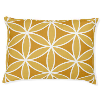 Flower of Life Large Pattern Oranges & White Pet Bed