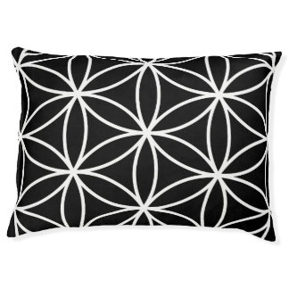 Flower of Life Large Pattern – White on Black Pet Bed