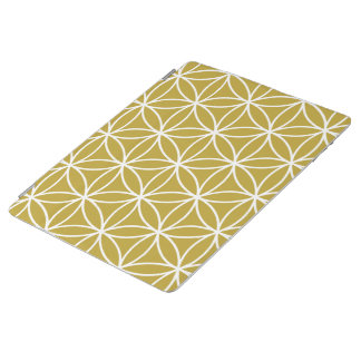 Flower of Life Large Pattern – White on Gold iPad Cover