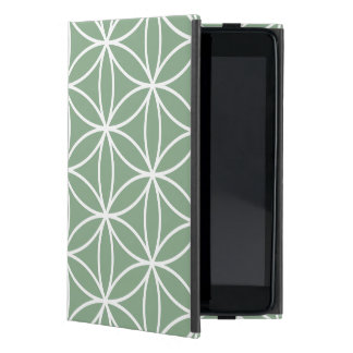 Flower of Life Large Pattern White on Green Cover For iPad Mini