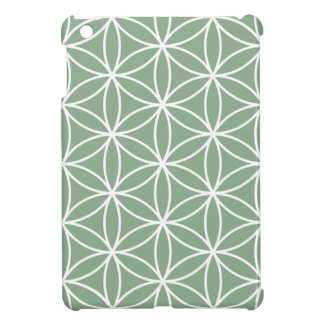 Flower of Life Large Pattern White on Green Cover For The iPad Mini