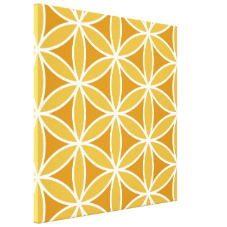 Flower of Life Large Ptn Oranges & White Gallery Wrapped Canvas