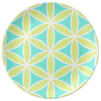 Flower of Life Large Ptn Teal Lime & White Plate