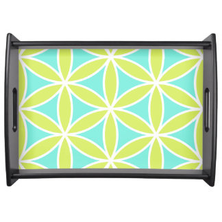Flower of Life Large Ptn Teal Lime & White Serving Tray