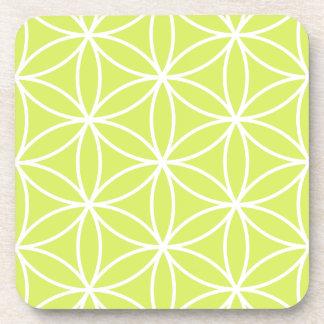 Flower of Life Large Ptn White on Lime Coaster