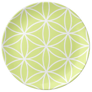 Flower of Life Large Ptn White on Lime Plate