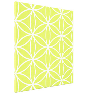Flower of Life Large Ptn White on Lime Stretched Canvas Print