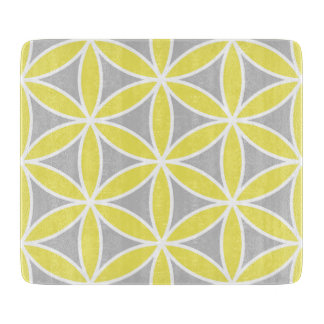 Flower of Life Large Ptn Yellow Grey White Cutting Board