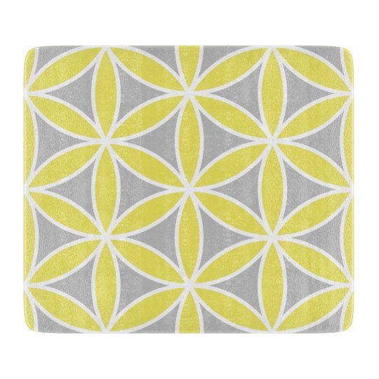 Flower of Life Large Ptn Yellow Grey White