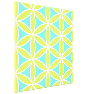 Flower of Life Large Teal Lime & White Gallery Wrap Canvas