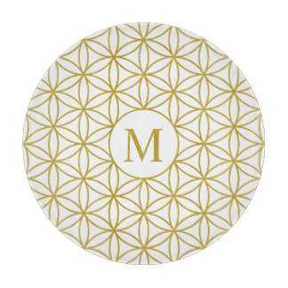 Flower of Life Lg Ptn (Personalised) Gold on White Cutting Board