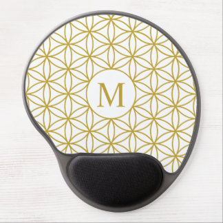 Flower of Life Lg Ptn (Personalised) Gold on White Gel Mouse Mat