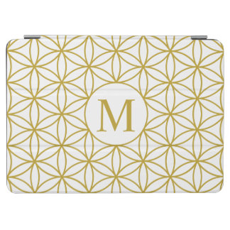 Flower of Life Lg Ptn (Personalised) Gold on White iPad Air Cover