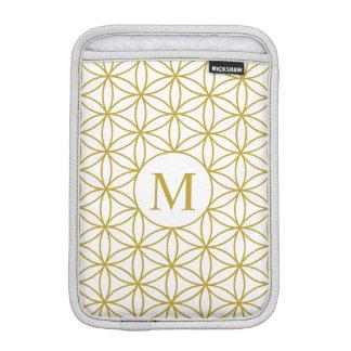 Flower of Life Lg Ptn (Personalised) Gold on White iPad Mini Sleeve