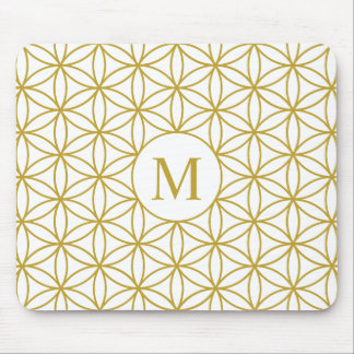 Flower of Life Lg Ptn (Personalised) Gold on White Mouse Mat
