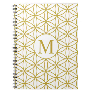 Flower of Life Lg Ptn (Personalised) Gold on White Note Book