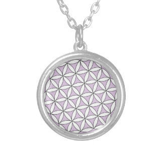 Flower of Life Lilac Round Pendant Necklace