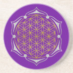 Flower Of Life - Lotus gold silver Sandstone Coaster