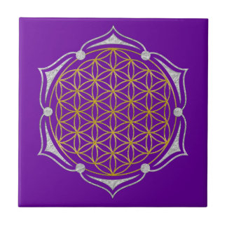 Flower Of Life - Lotus gold silver Tile