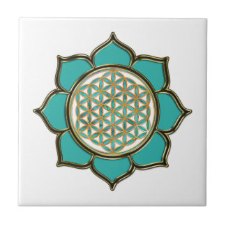FLOWER OF LIFE - LOTUS ocean green Small Square Tile