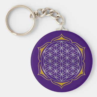 Flower Of Life - Lotus silver gold Basic Round Button Key Ring