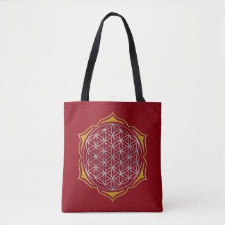 Flower Of Life - lotus silver gold Tote Bag