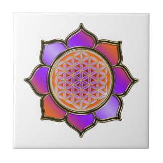 FLOWER OF LIFE - LOTUS violet Small Square Tile