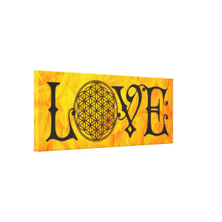 Flower Of Life - LOVE lettering tattoo black Canvas Print