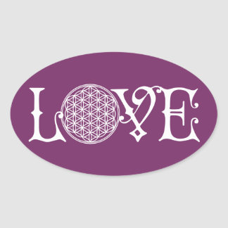 Flower Of Life - LOVE lettering tattoo white Oval Sticker