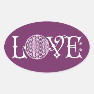 Flower Of Life - LOVE lettering tattoo white Oval Sticker