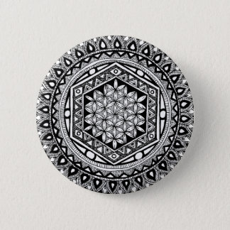 Flower of life mandala 6 cm round badge