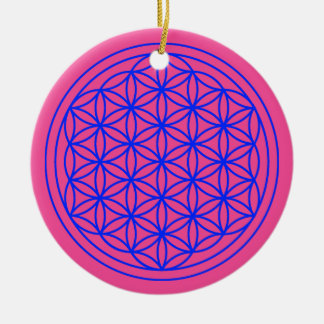 Flower of Life  Mandala Magenta Ornament