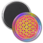 Flower Of Life / Moola Mantra 6 Cm Round Magnet
