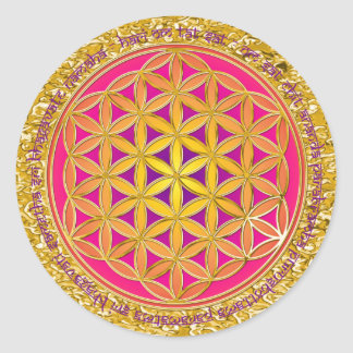 Flower Of Life / Moola Mantra | gold splatter Round Sticker