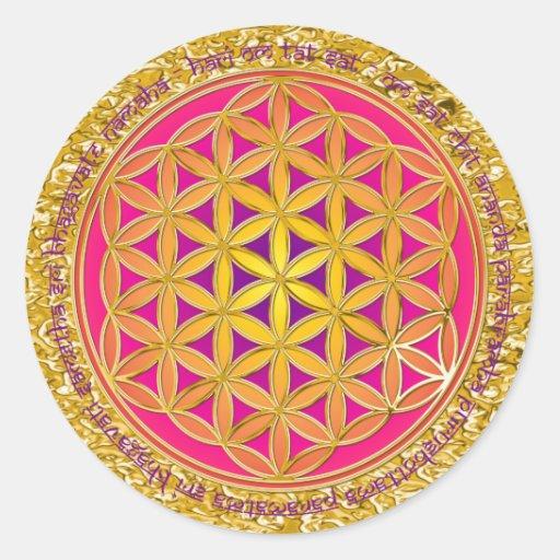 Flower Of Life / Moola Mantra   gold splatter Round Sticker