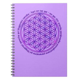 Flower Of Life - Moola Mantra - violet Spiral Note Books