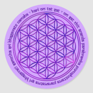 Flower Of Life - Moola Mantra - violet Round Stickers