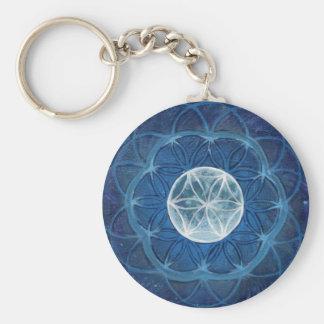 Flower of Life Moon Mandala Basic Round Button Key Ring