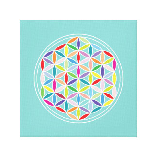 Flower of Life – Multicoloured on Blue Canvas Print