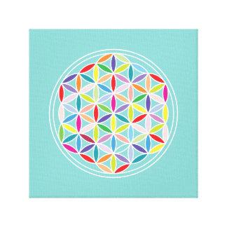Flower of Life – Multicoloured on Blue Canvas Print