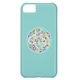 Flower of Life – Multicoloured on Blue Cover For iPhone 5C