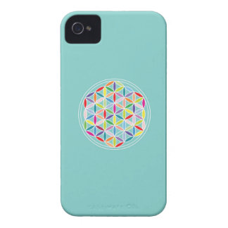 Flower of Life – Multicoloured on Blue iPhone 4 Case-Mate Case