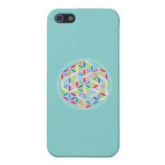 Flower of Life – Multicoloured on Blue iPhone 5 Covers
